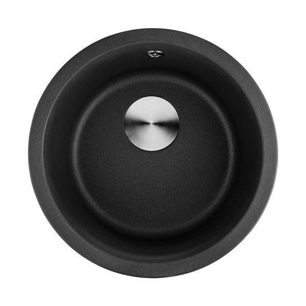 Lottare 700107BK Undermount Round Granite Composite Bar Sink Black