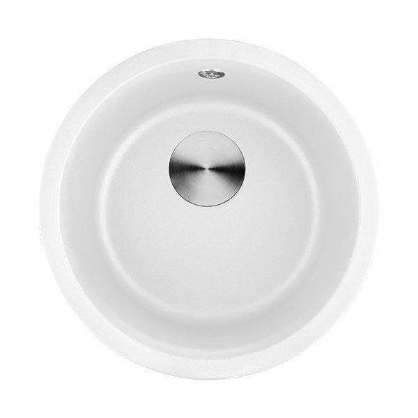 Lottare 700107WH Undermount Round Granite Composite Bar Sink White