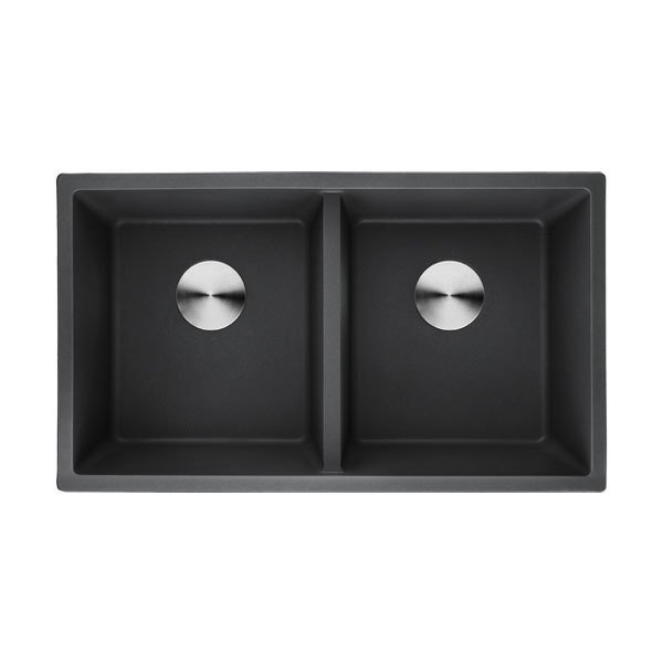 Lottare 700111BK Composite Granite Kitchen Sink 50/50 Black
