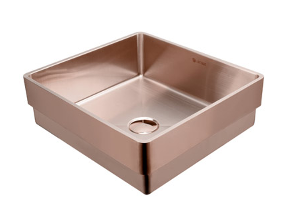 Lottare  200115 Handmade 304 Stainless Steel Bathroom Sink Rose Gold