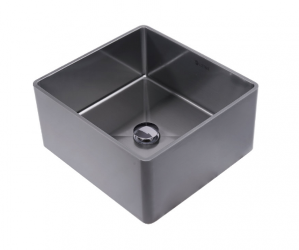 Lottare 200117 Handmade 304 Stainless Steel Bathroom Sink Solid Gray