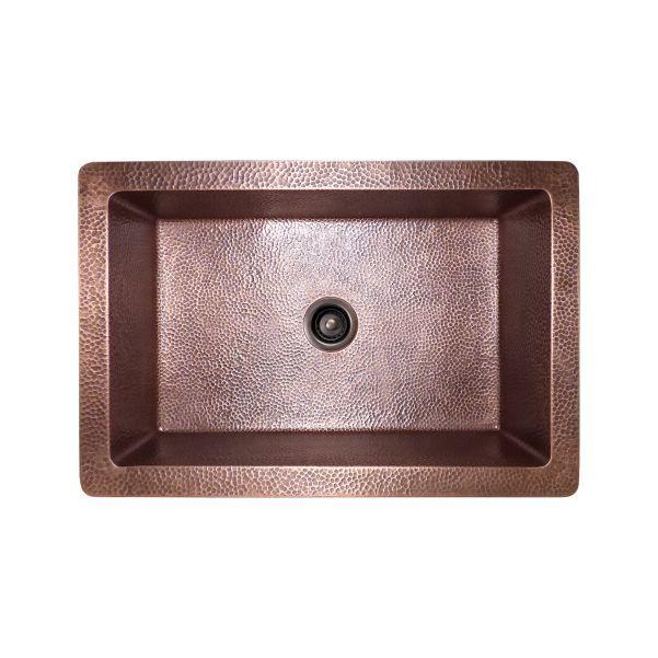 LOTTARE 200123 Single Bowl Solid Copper Farmhouse Sink Coffee Brown