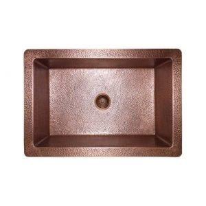 LOTTARE 200124 Single Bowl Solid Copper Farmhouse Sink Coffee Brown