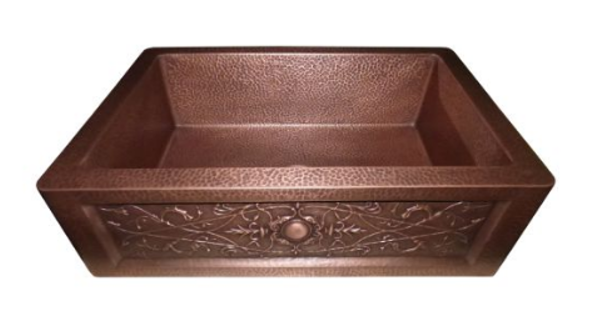 LOTTARE 200124 Single Bowl Solid Copper Farmhouse Sink Coffee Brown
