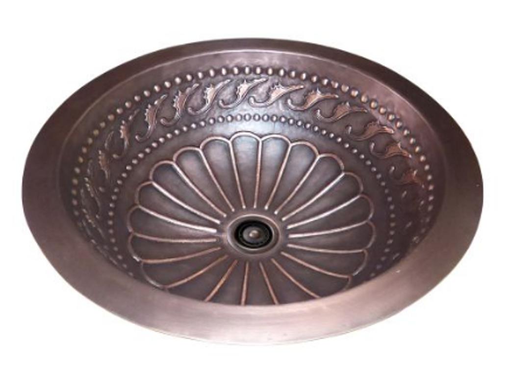 Lottare 200128 Single Bowl Solid Copper Bathroom/Bar Sink Coffee Brown