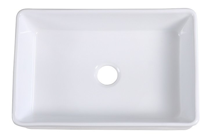 Lottare 200129 White Single Bowl Fireclay Farmhouse Sink