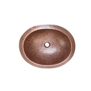 Lottare 200130 Oval Solid Copper Bathroom/Bar Sink Rose Gold