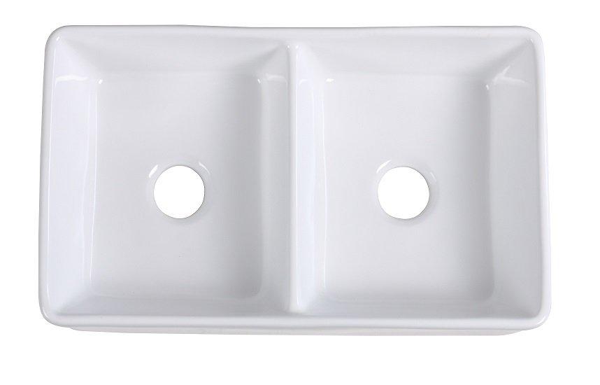 Lottare 200130 White Fireclay 50/50 Kitchen Farmhouse Sink
