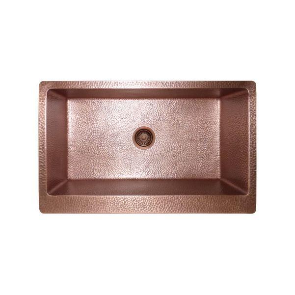 LOTTARE 200131 Single Bowl Solid Copper Farmhouse Sink CB