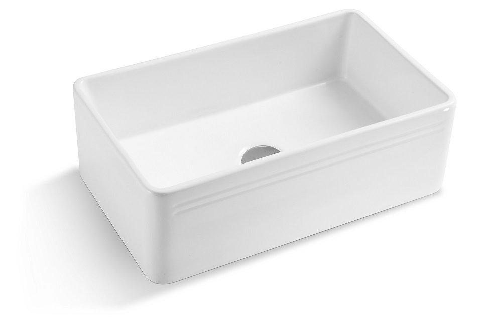 Lottare 200136 White Single Bowl Fireclay Farmhouse Sink