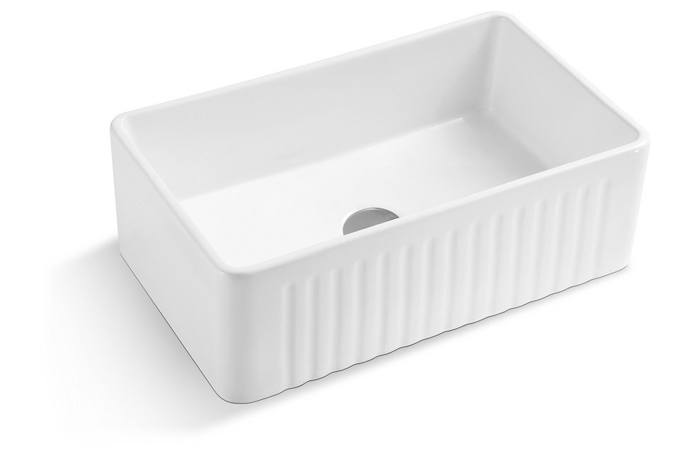 Lottare 200136 White Single Bowl Fireclay Farmhouse Sink