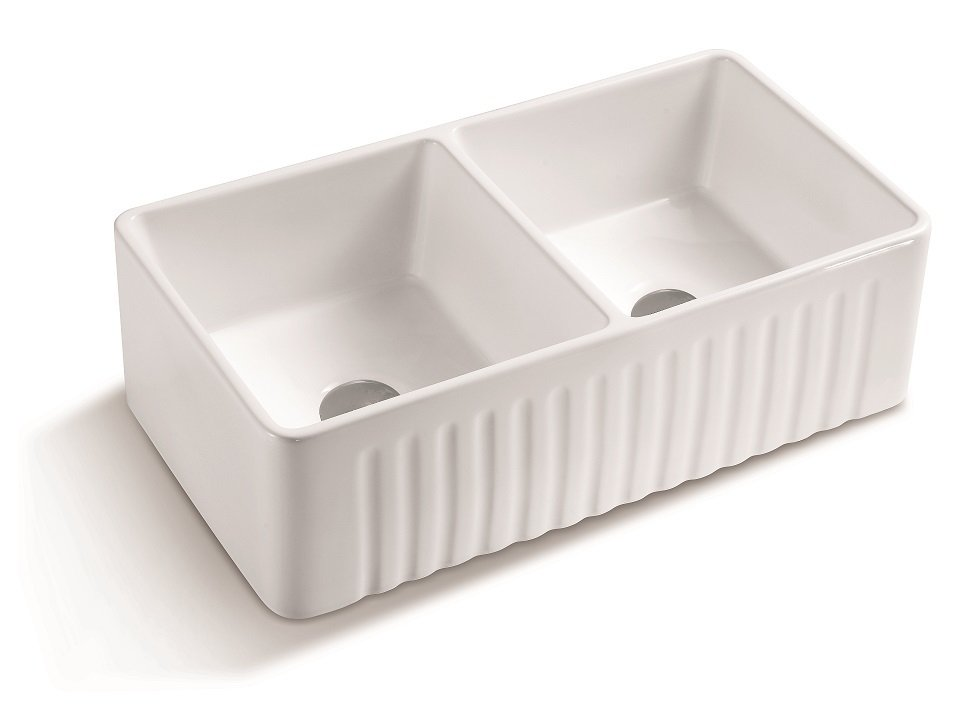 Lottare 200137 White Double Bowl Fireclay Farmhouse Sink 50/50