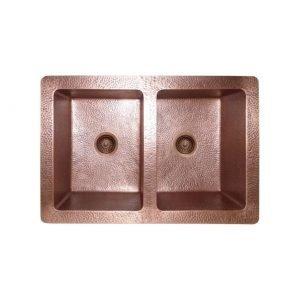 LOTTARE 200126-RG Single Bowl Solid Copper Farmhouse Sink