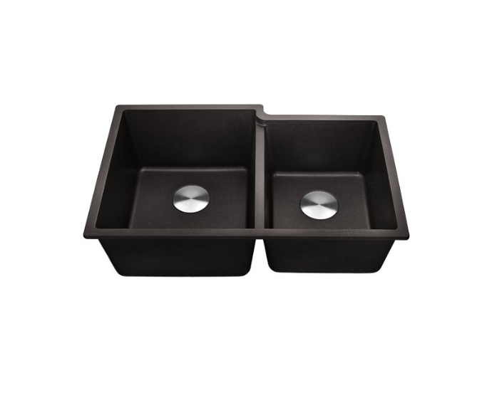 Lottare 700110BK Undermount Composite Granite Kitchen Sink 60/40 Black