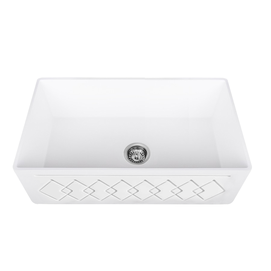 Lottare 200133 White Single Bowl Solid Surface Farmhouse Sink
