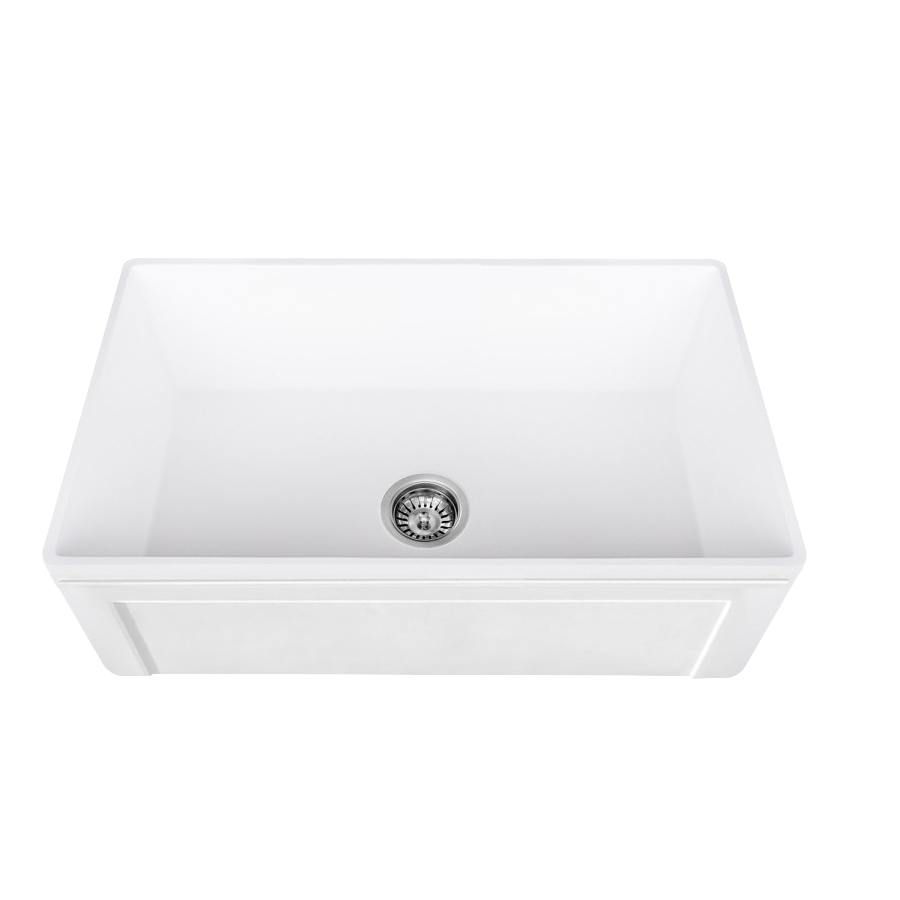 Lottare 200135 White Single Bowl Fireclay Farmhouse Sink