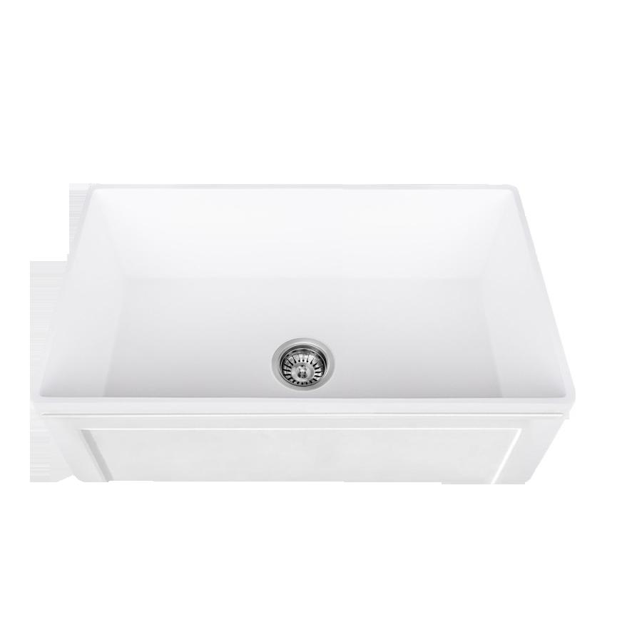 Lottare 200135 White Single Bowl Fireclay Farmhouse Sink