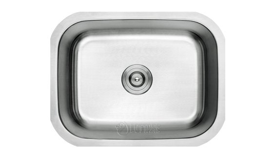 Lottare 800101 B&B Series Single Bowl Stainless Steel Bar Laundry Sink