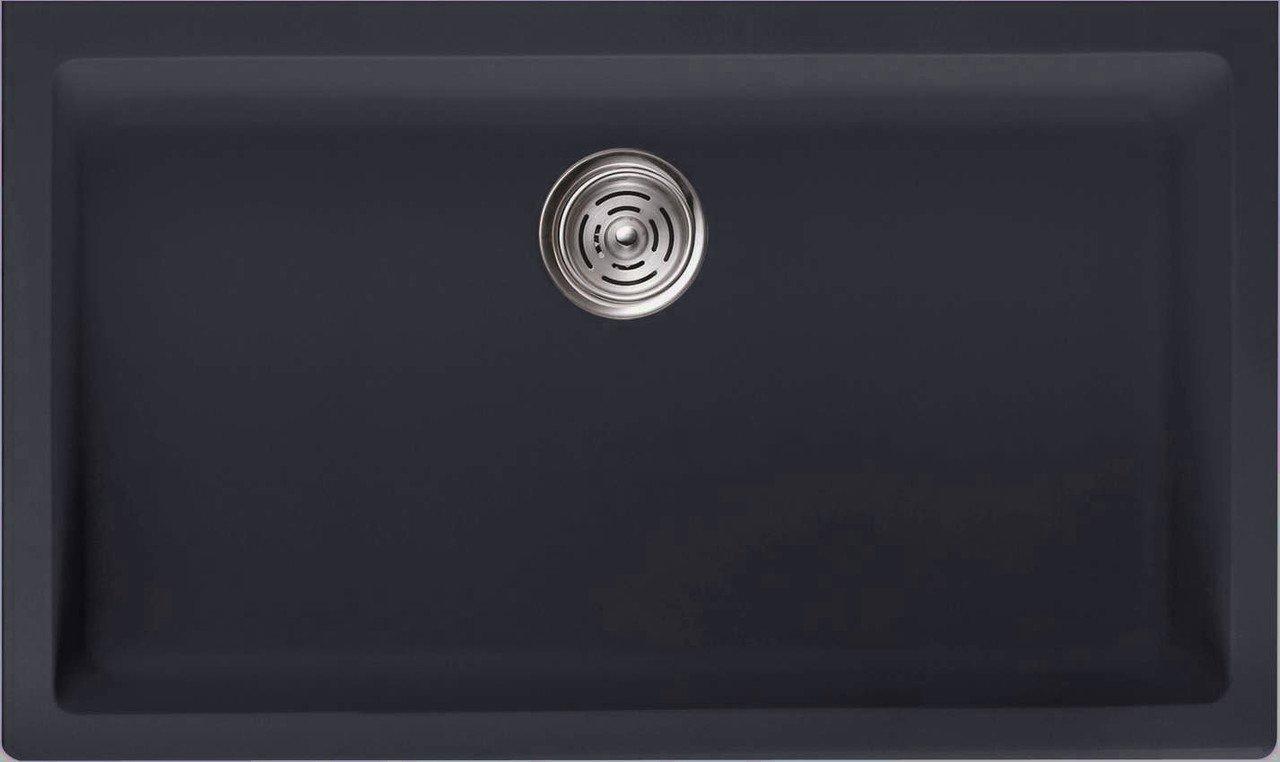 LOTTARE 700104 Undermount Single Bowl Composite Kitchen Sink Black