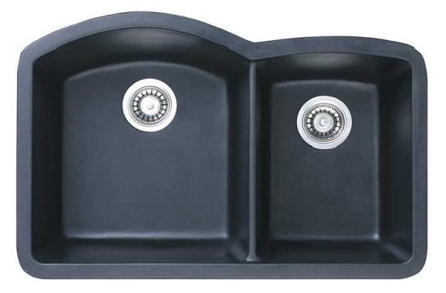 Lottare 700105 Double Bowl Composite Kitchen Sink Black