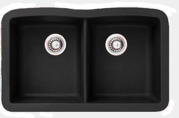 Lottare 700106 Double Bowl Composite Kitchen Sink Black
