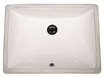Lottare 800113 Rectangular Porcelain Undermount Bathroom Sink White